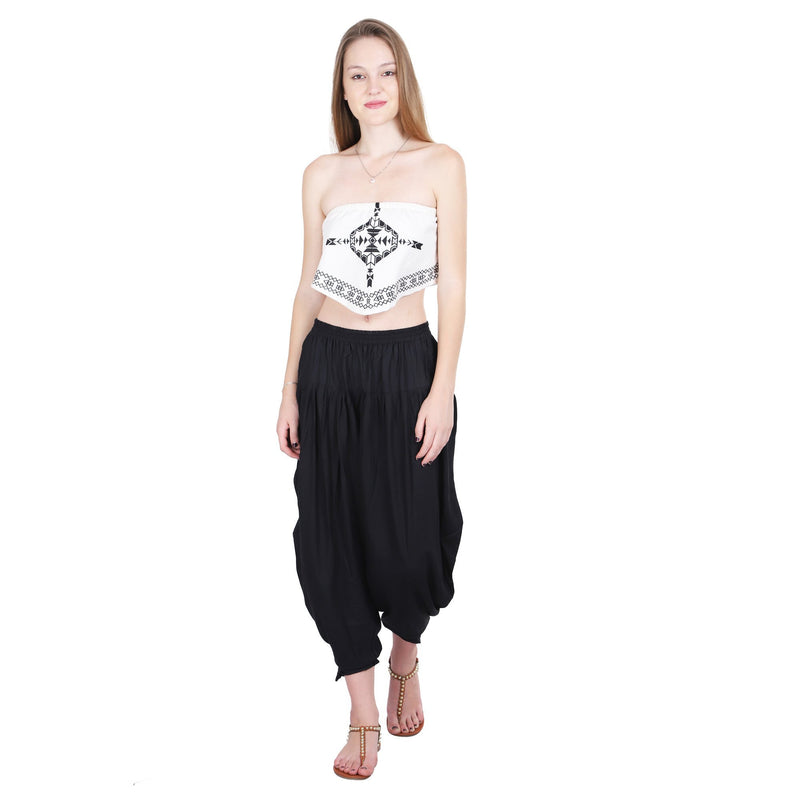 BLACK SOLID TULIP PANTS - ZOMO