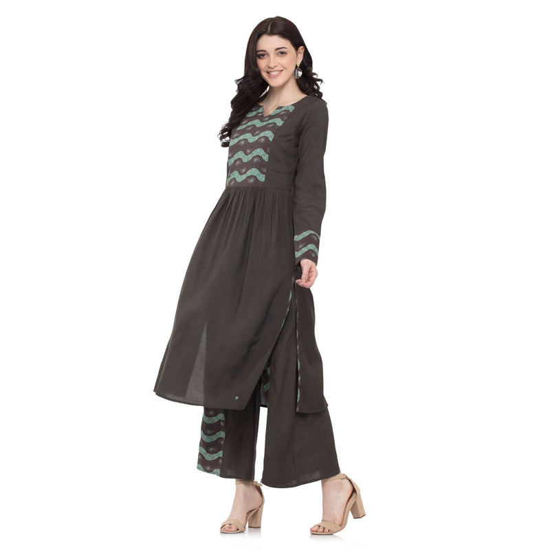 BROWN COLORED SWEETHEART NECK LONG KURTI - ZOMO