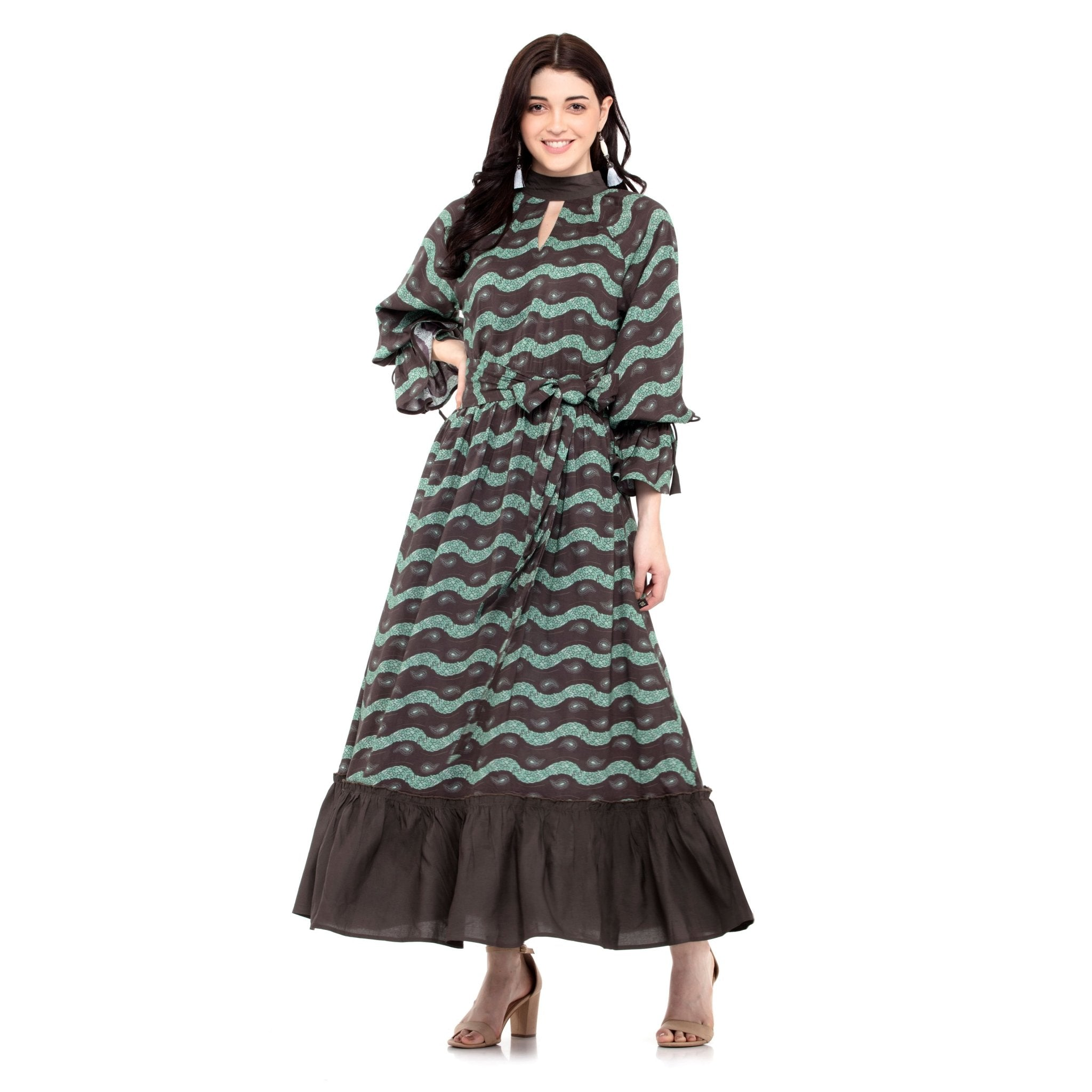 BROWN MAXI DRESS WITH FLARED BORDER - ZOMO