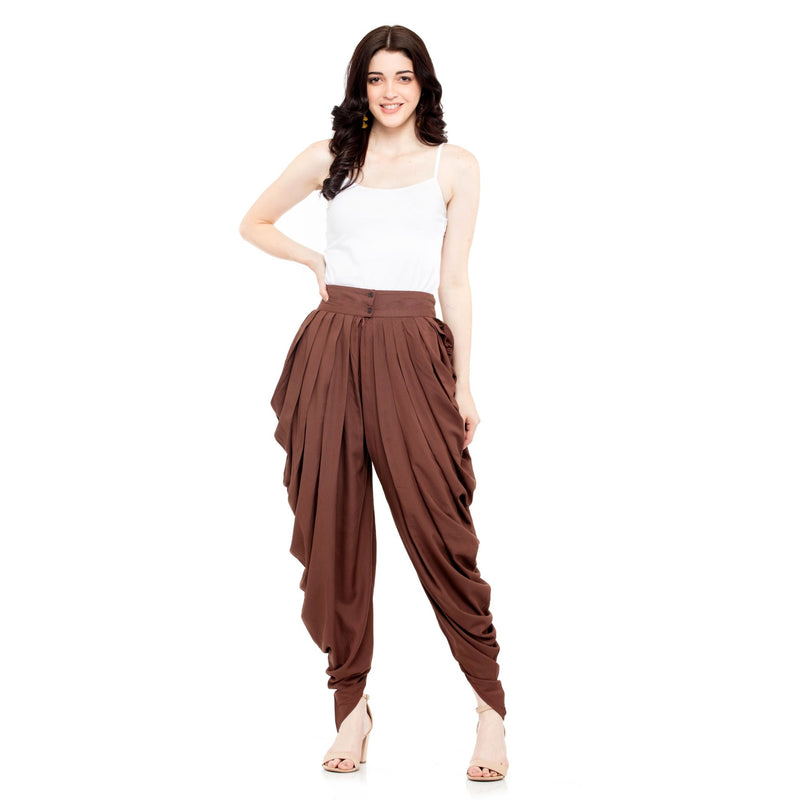 BROWN SOLID COWL DHOTI - ZOMO