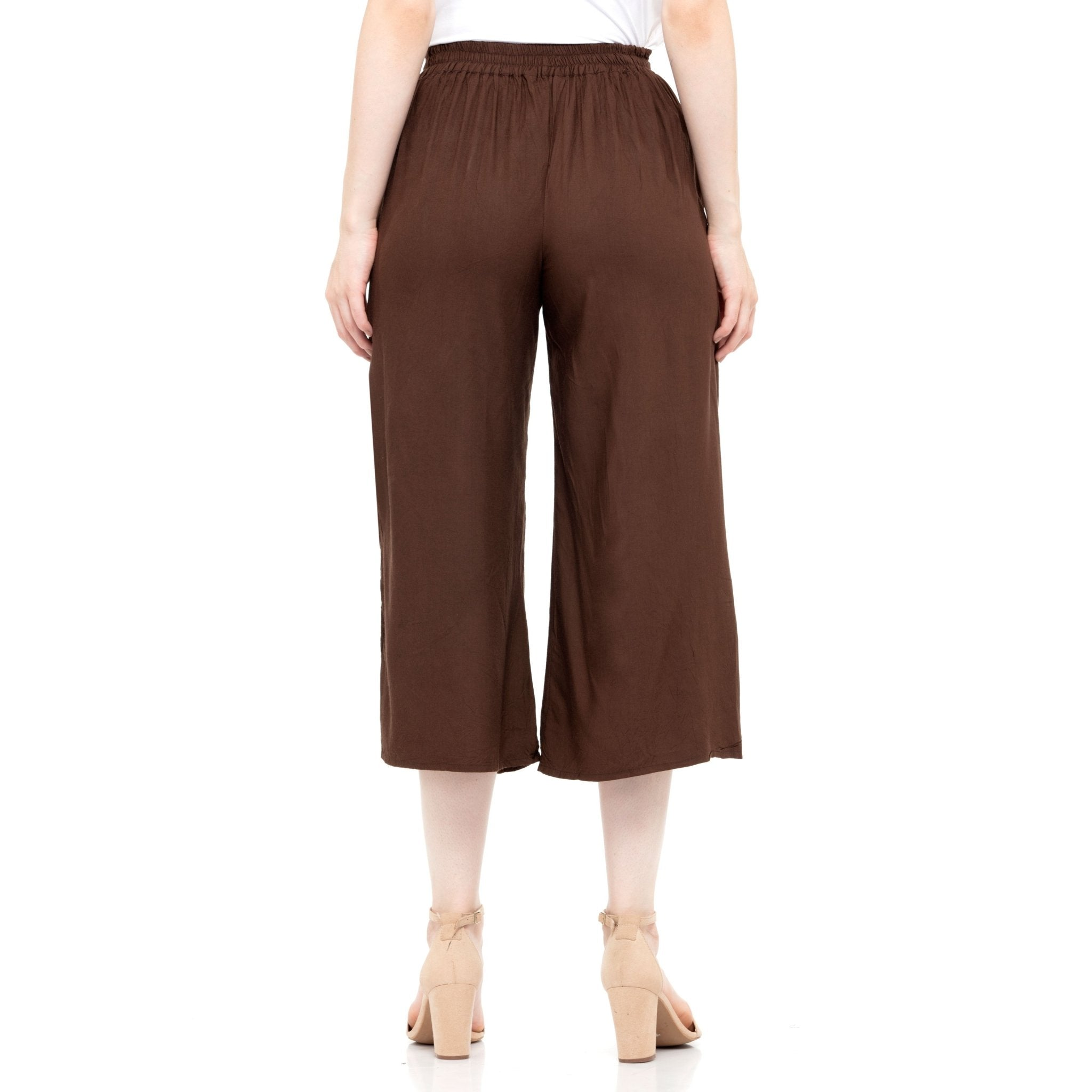 BROWN SOLID PLEATED CULOTTES - ZOMO
