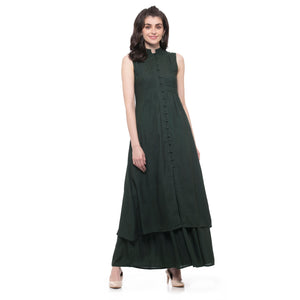 DARK GREEN LONG PLEATED KURTI - ZOMO