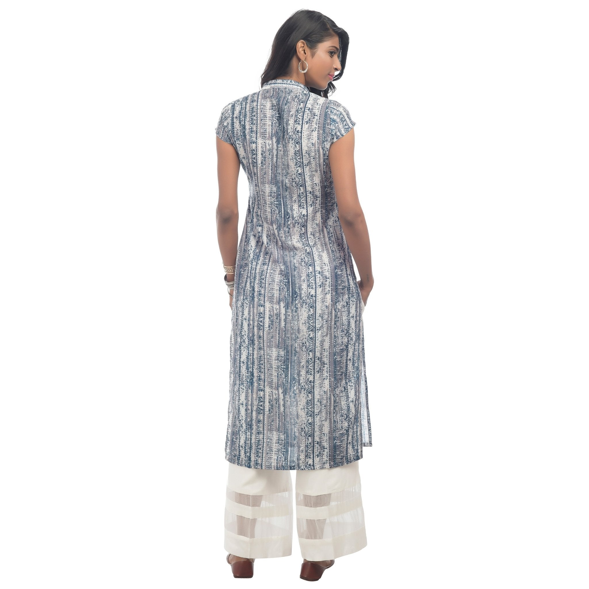GRAY AND BLUE PRINTED KURTI - ZOMO