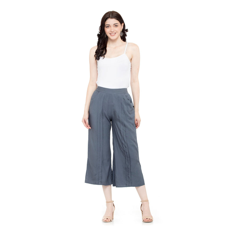 GRAY FLARED SLEEVES SHORT TOP WITH PLEATED CULOTTES - ZOMO