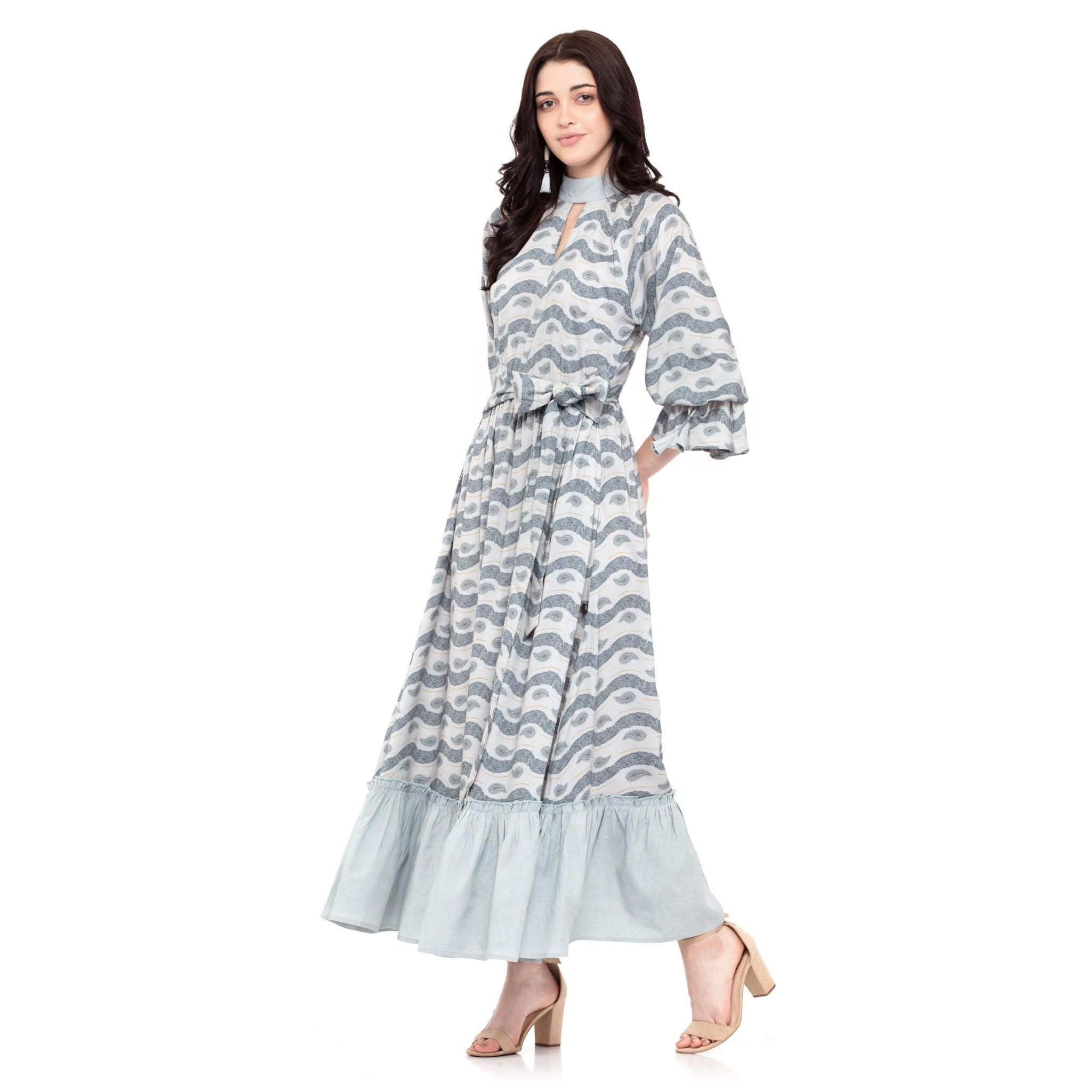 GRAY MAXI DRESS WITH FLARED BORDER - ZOMO