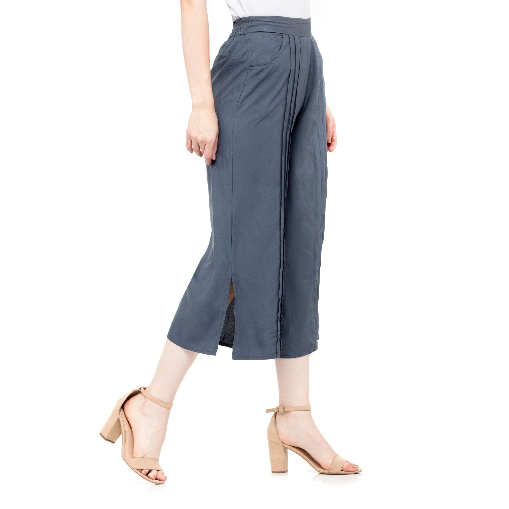 GRAY SOLID PLEATED CULOTTES - ZOMO
