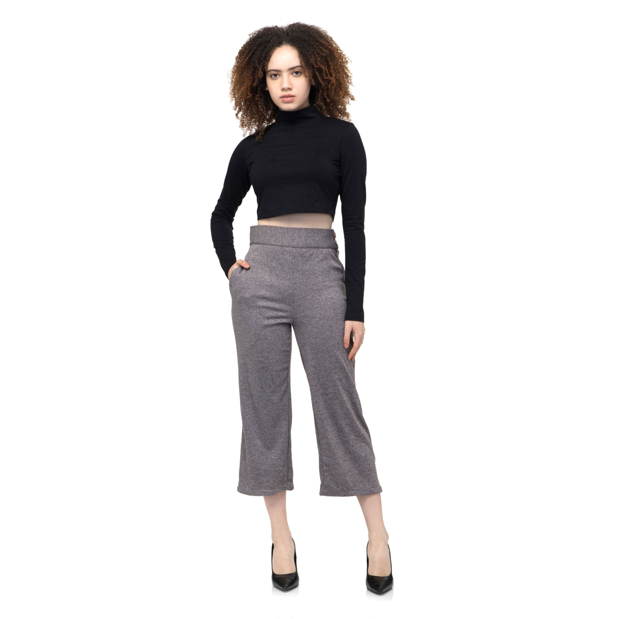 GRAY SOLID TROUSER PANTS - ZOMO