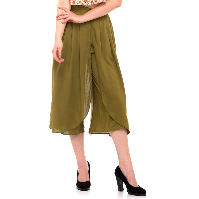 GREEN SOLID TULIP PANTS - ZOMO