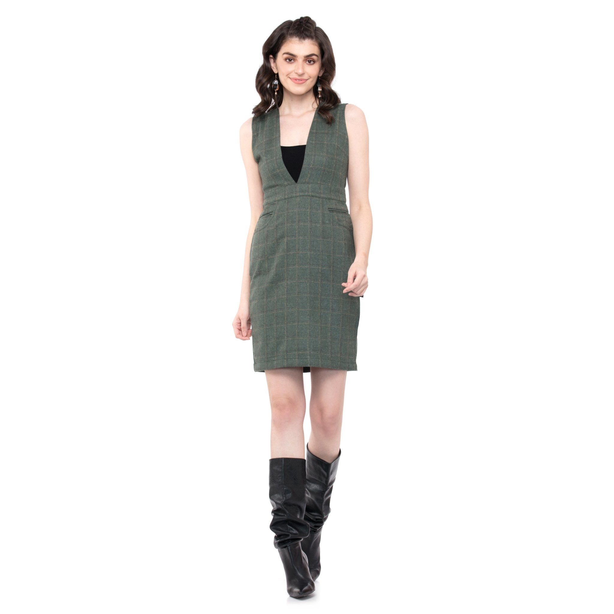 LIGHT GREEN PINAFORE DRESS - ZOMO