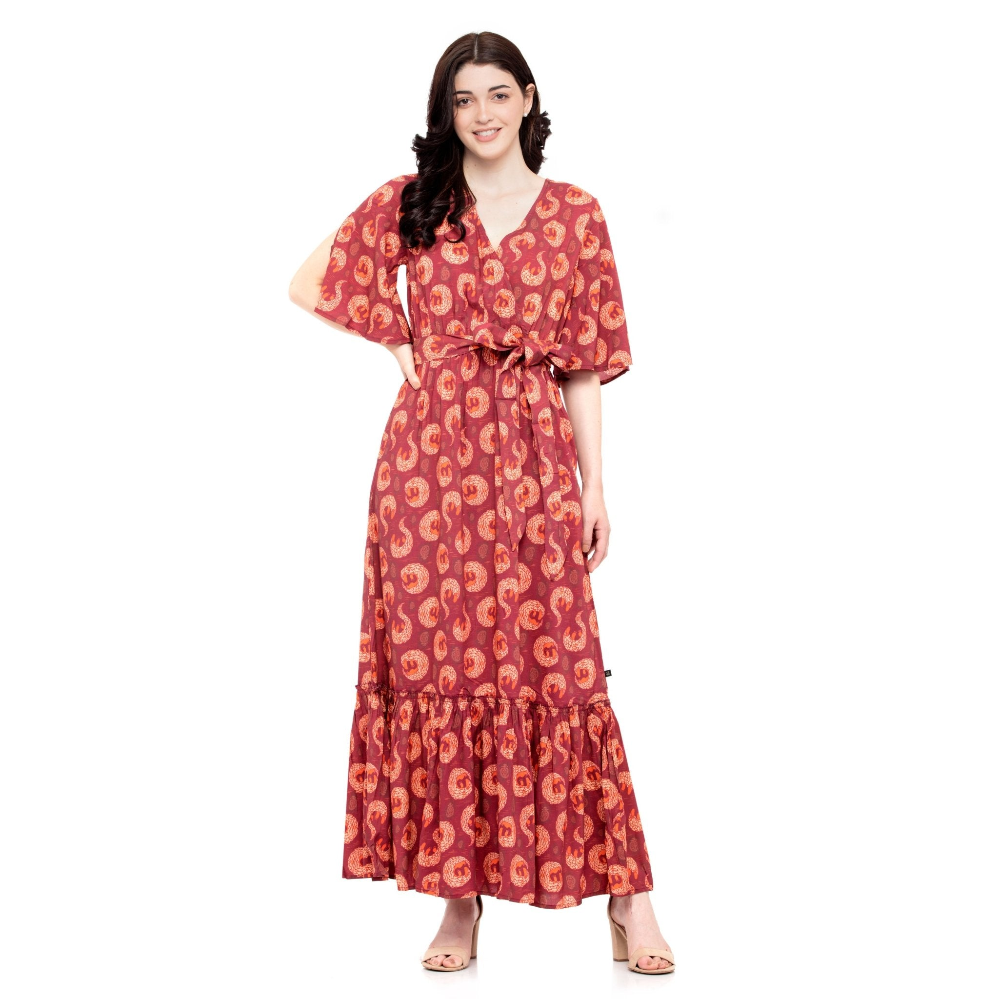 MAROON MAXI DRESS - ZOMO