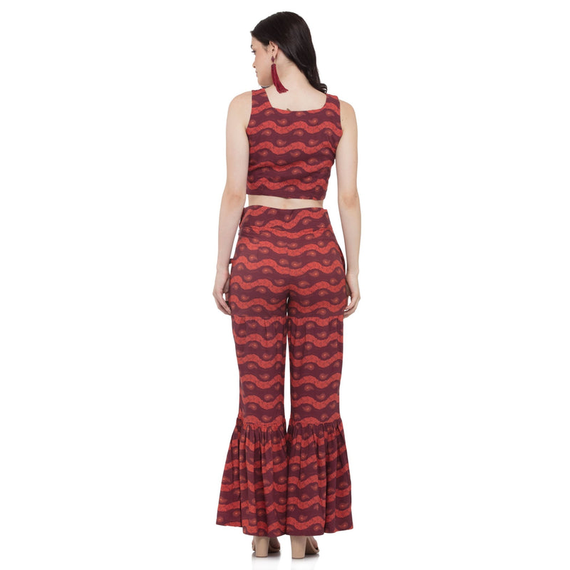 MAROON PRINTED SHARARA PANTS - ZOMO