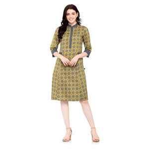 MUSTARD PRINTED DRESS - ZOMO