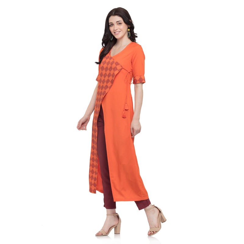ORANGE ANGARAKHA KURTI WITH DRAWSTRING - ZOMO