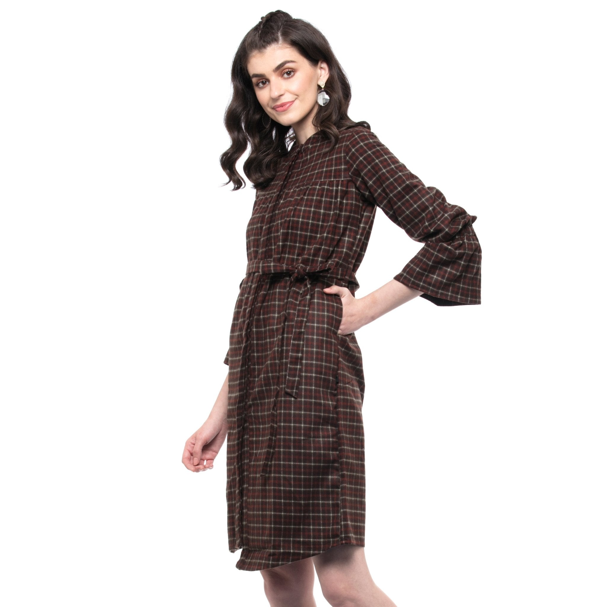 ORANGE CHECK FLANNEL DRESS WITH BELT - ZOMO