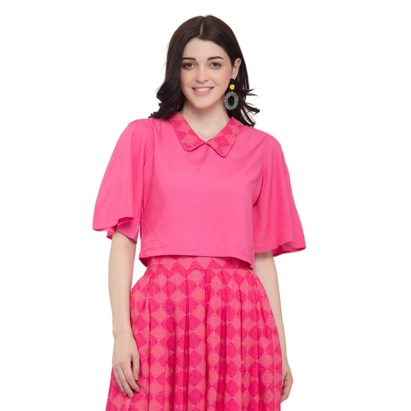 PINK COLLARED NECK TOP WITH FLARED PRINTED PALAZZO - ZOMO