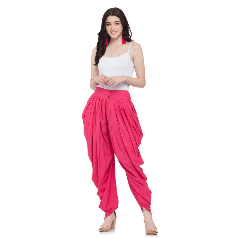 PINK SOLID COWL DHOTI - ZOMO