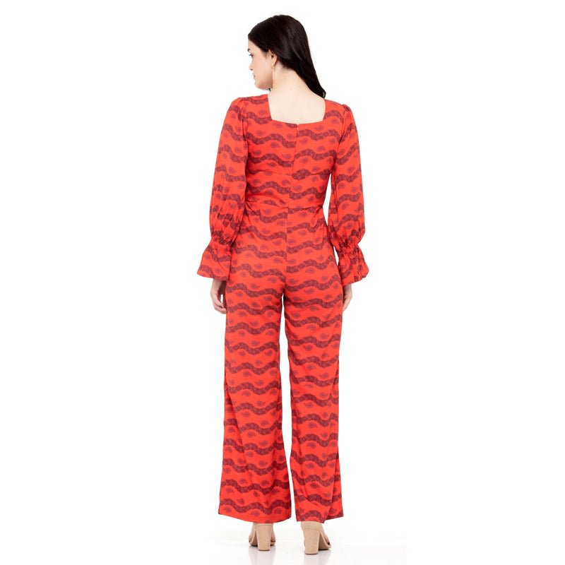 RED PRINTED BALLOON SLEEVES JUMPSUIT - ZOMO