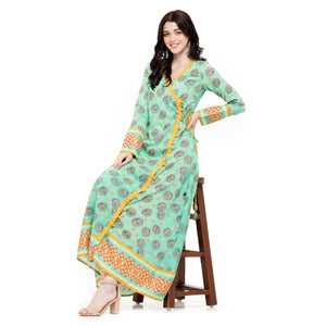 SEA GREEN ANGRAKHA KURTI WITH YELLOW TROUSER PANTS - ZOMO