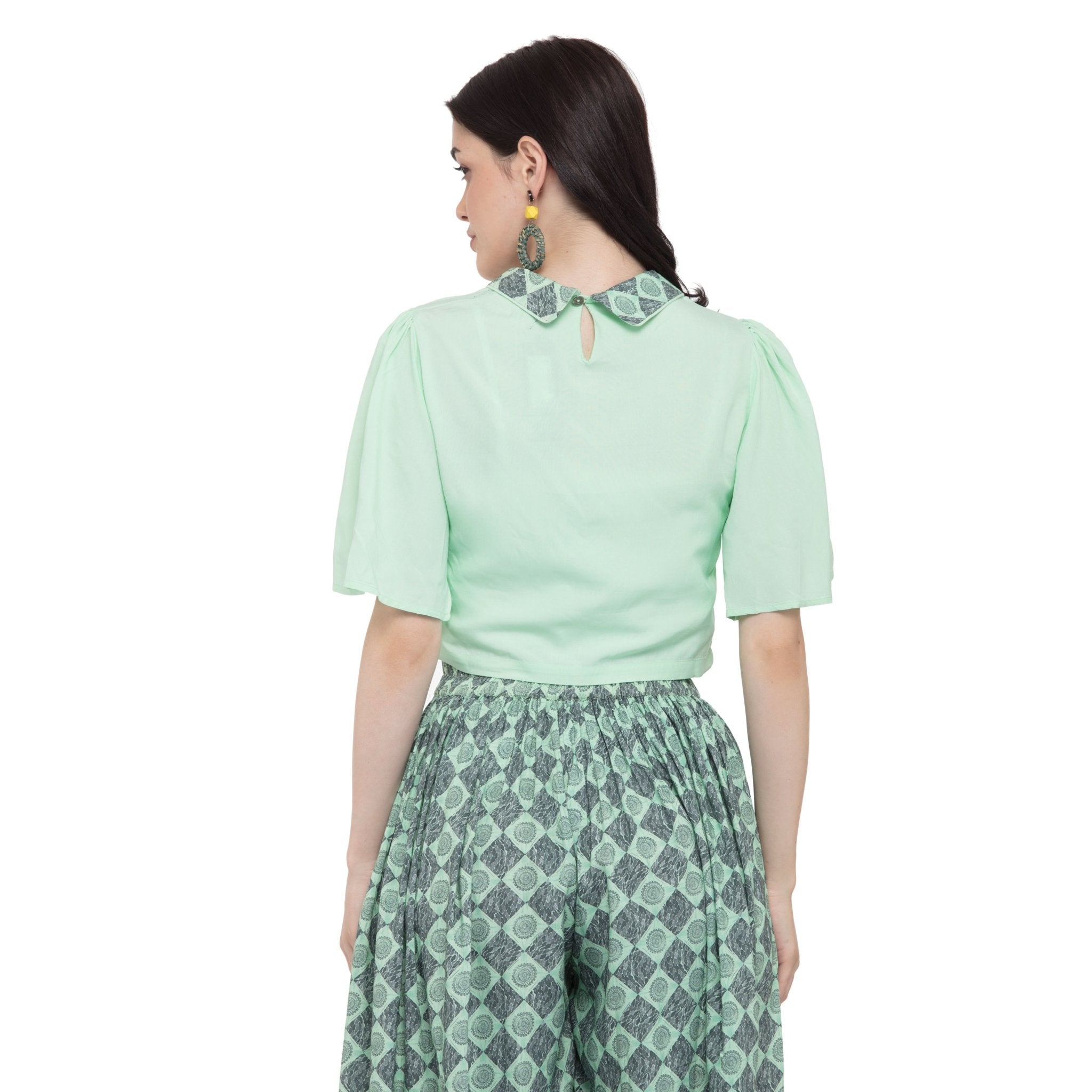 SEA-GREEN COLLARED NECK TOP WITH FLARED PRINTED PALAZZO - ZOMO