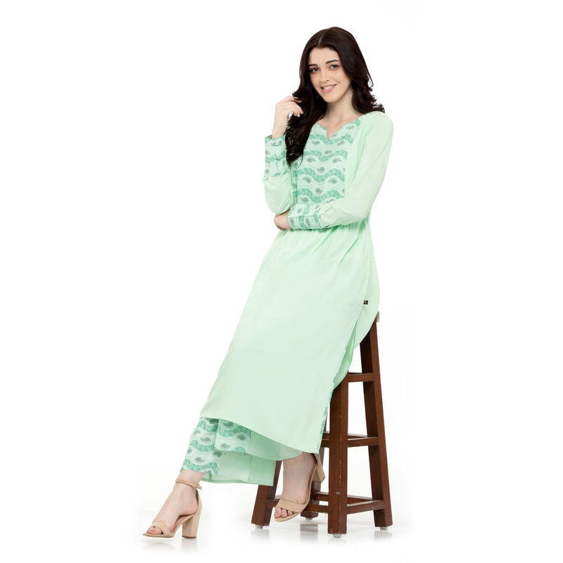 SEA GREEN COLORED SWEETHEART NECK LONG KURTI WITH PLEATED PALAZZO - ZOMO