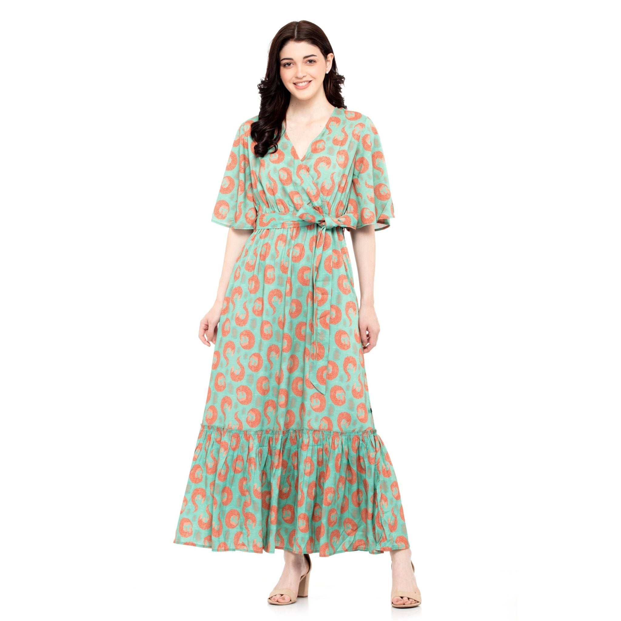 SEA GREEN MAXI DRESS - ZOMO