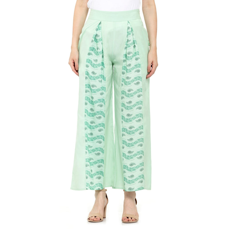 SEA GREEN PRINT AND SOLID PALAZZO - ZOMO
