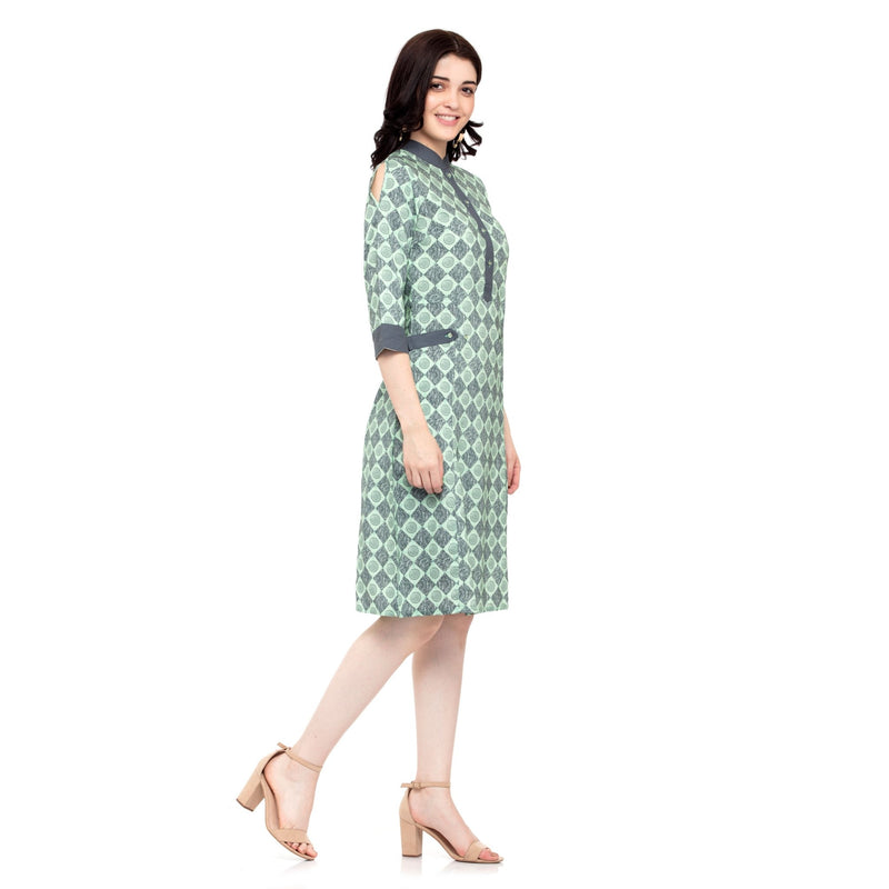 SEA GREEN PRINTED DRESS - ZOMO