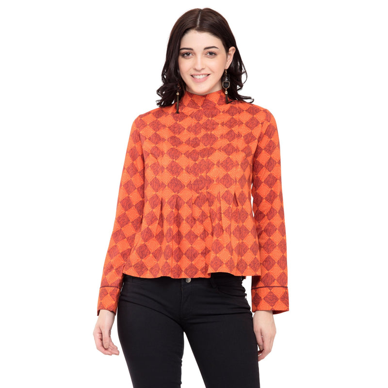 SHORT ORANGE PLEATED TOP - ZOMO