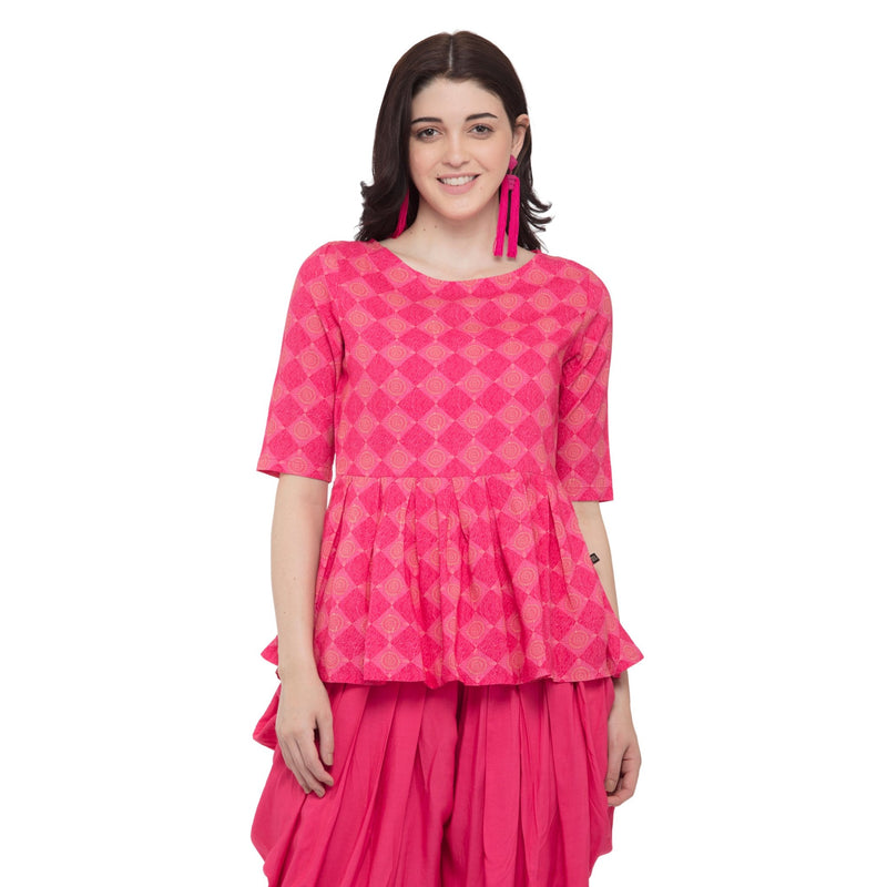 SHORT PINK COLORED PEPLUM TOP WITH GRAY COWL DHOTI - ZOMO