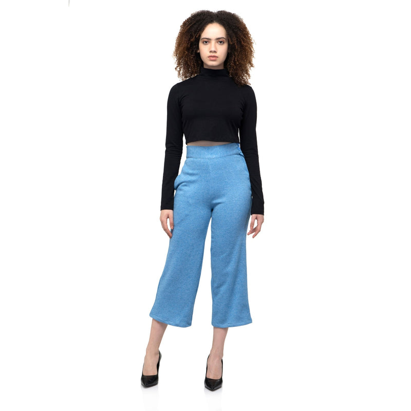 SKY BLUE SOLID WOOLEN TROUSER PANTS - ZOMO