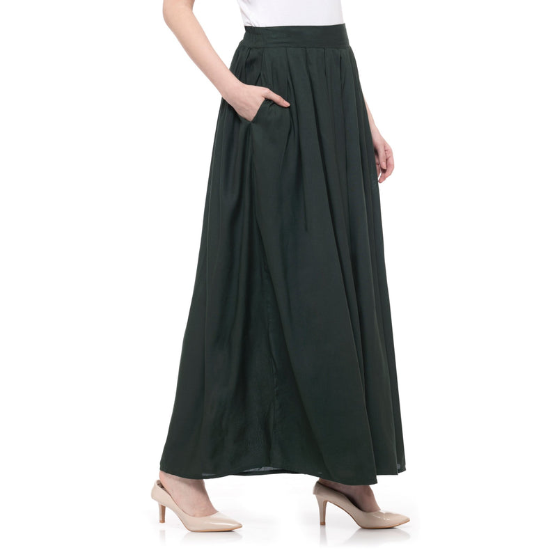 SOLID DARK GREEN PLEATED PALAZZO - ZOMO