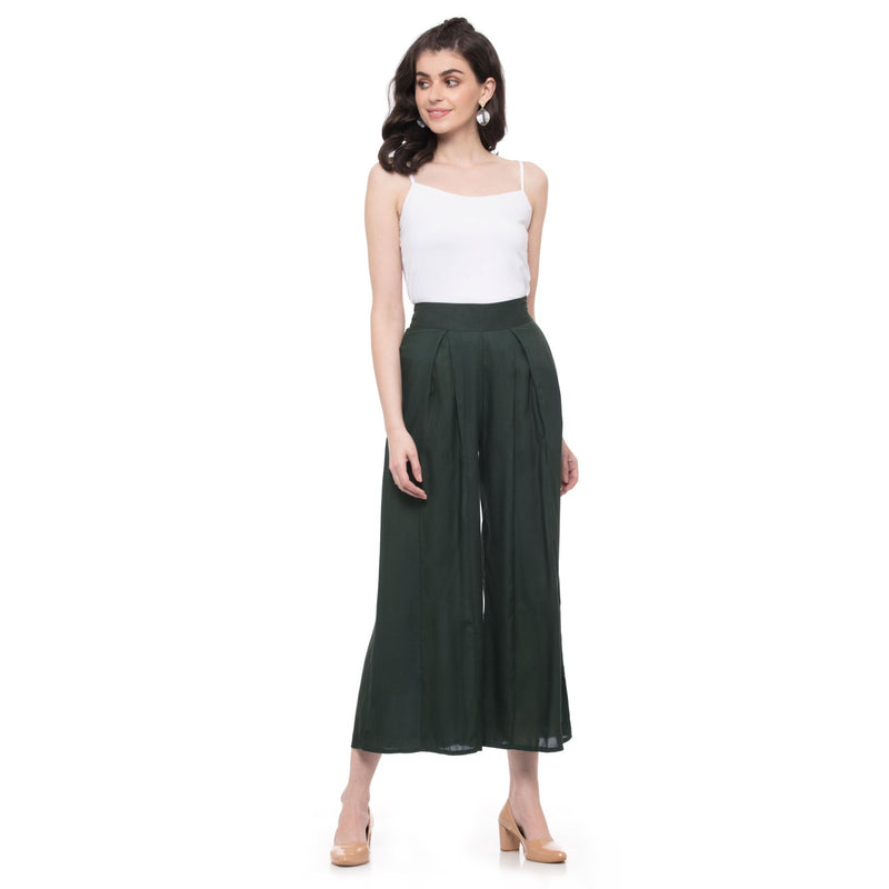 SOLID DARK GREEN PLEATED PALAZZO PANTS - ZOMO