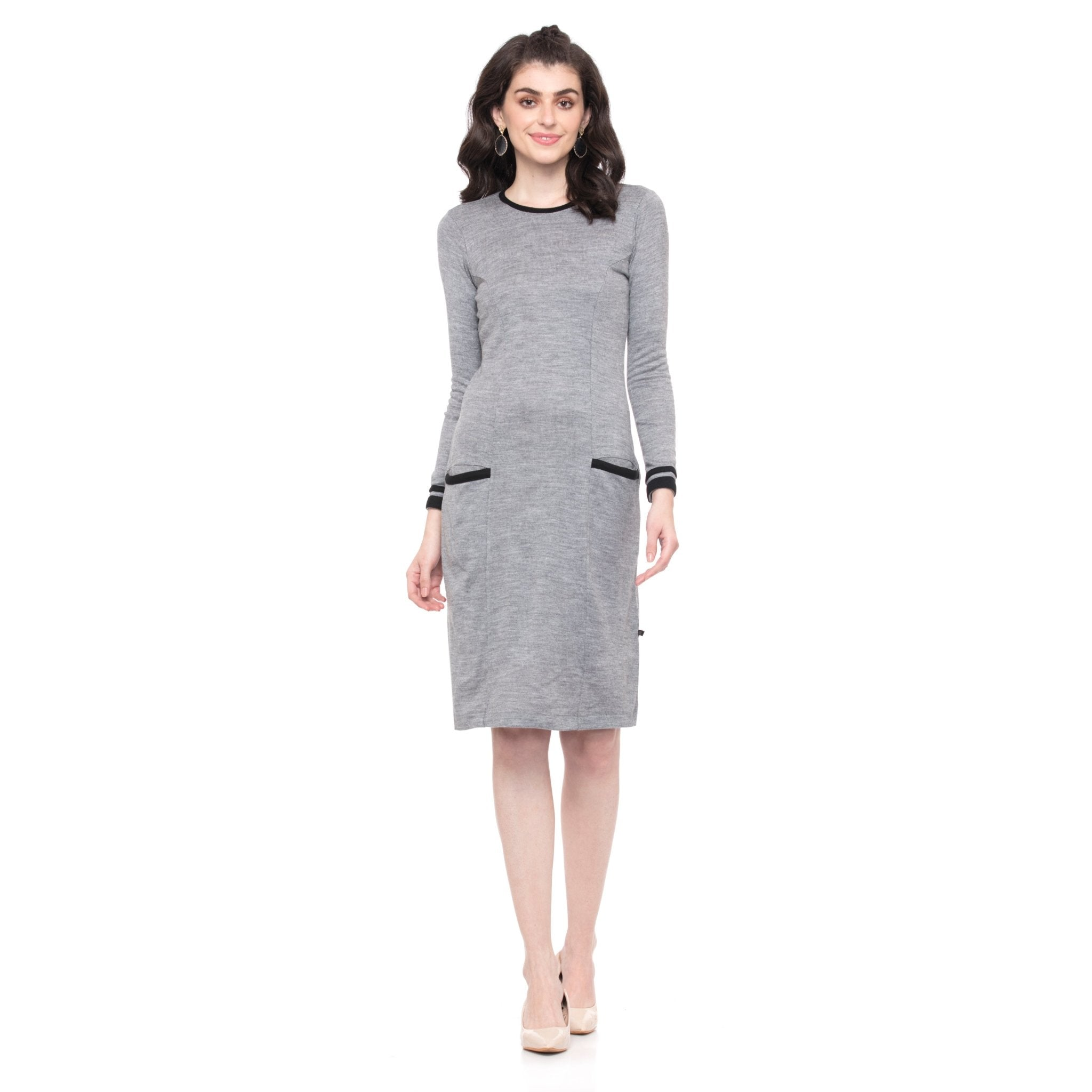 SOLID GRAY WOOLEN DRESS - ZOMO