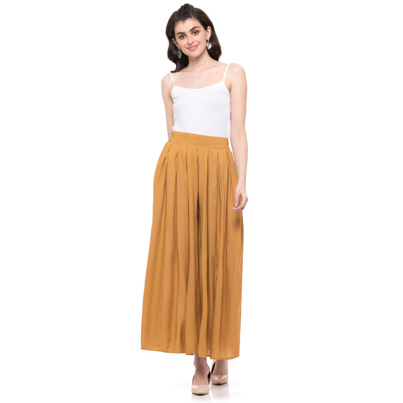 SOLID MUSTARD PLEATED PALAZZO - ZOMO