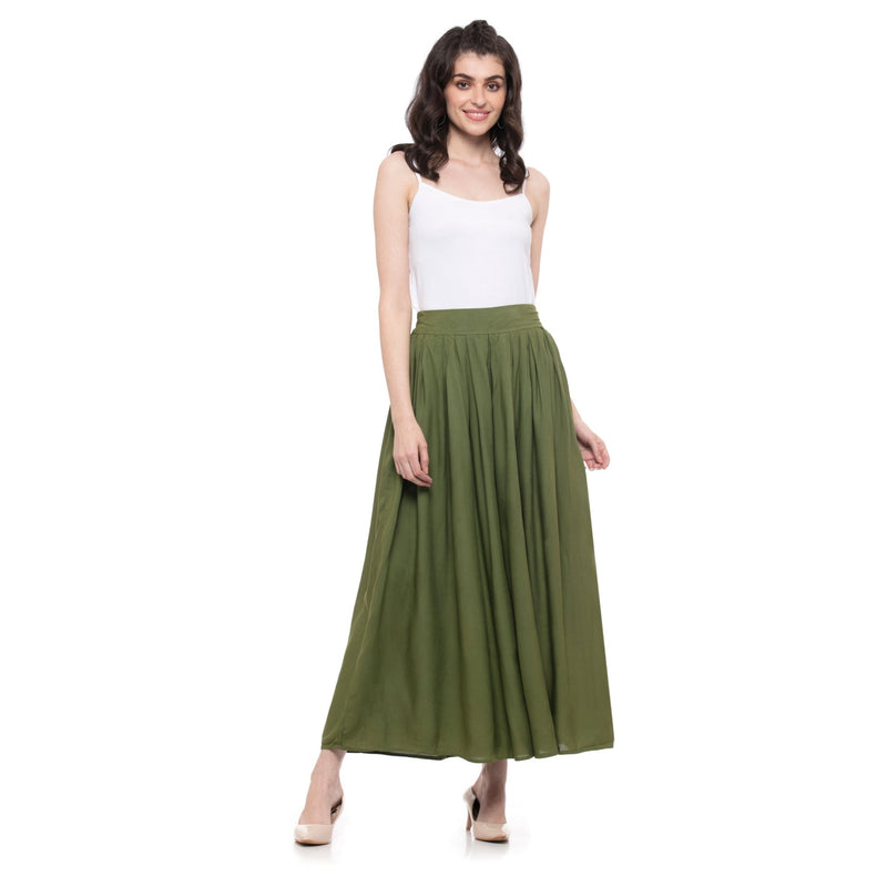 SOLID OLIVE GREEN PLEATED PALAZZO - ZOMO