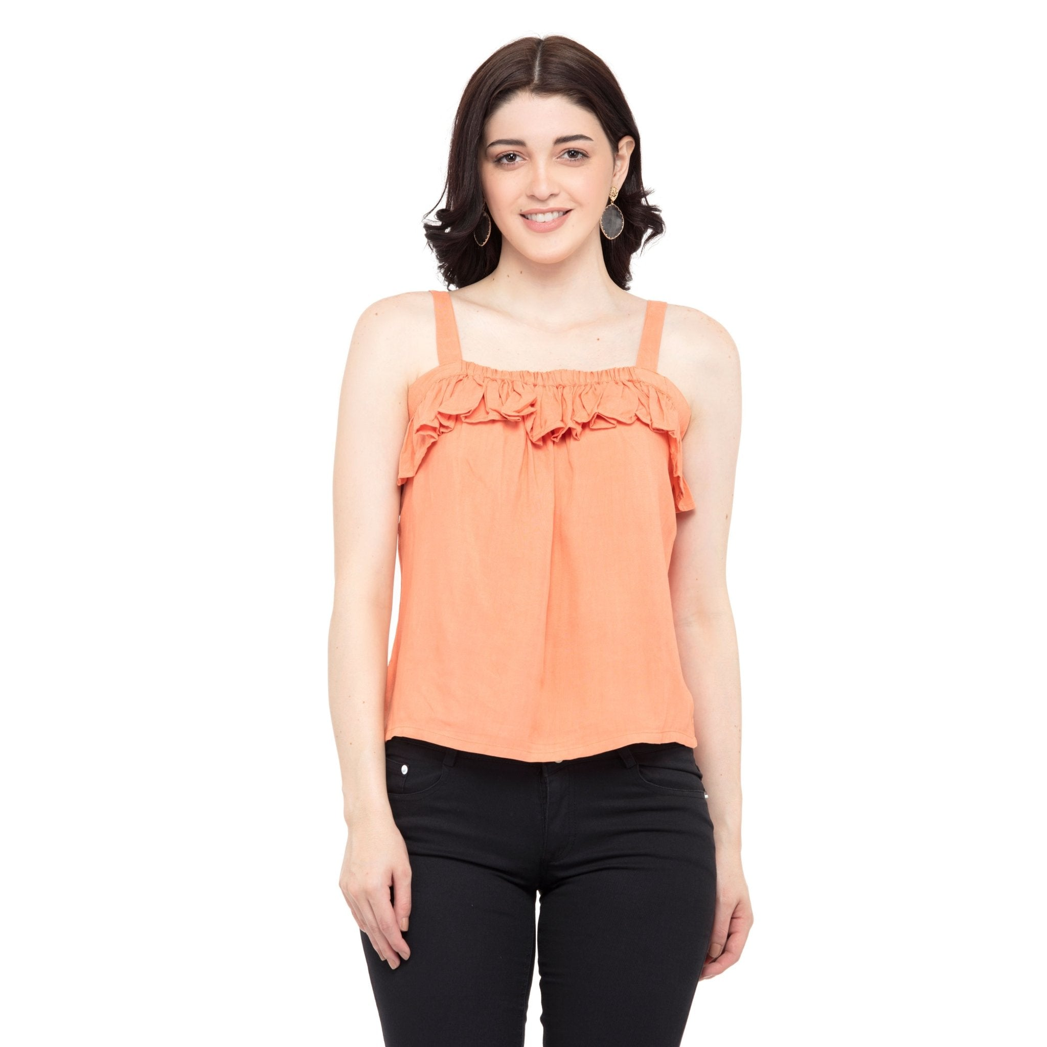 SOLID PEACH RUFFLED STRAP TOP - ZOMO