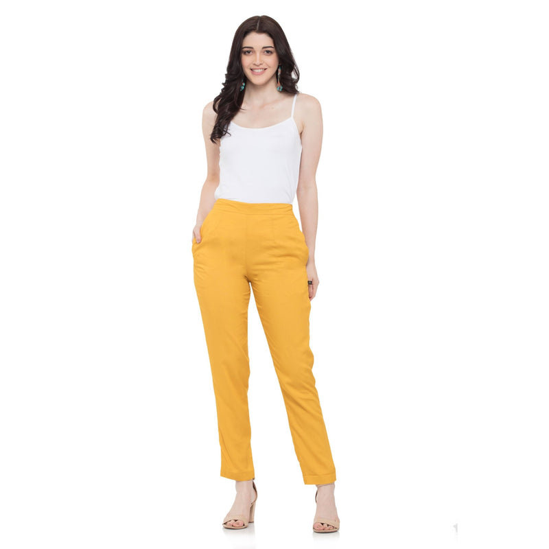 SOLID YELLOW TROUSER PANTS - ZOMO