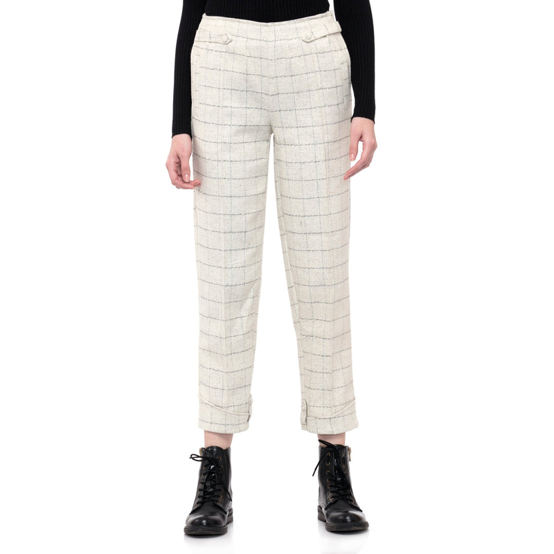WHITE CUFFED TROUSER PANT - ZOMO