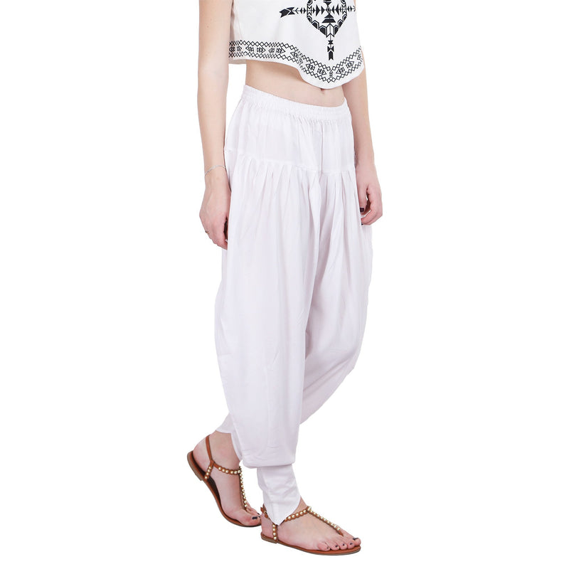 WHITE SOLID TULIP PANTS - ZOMO