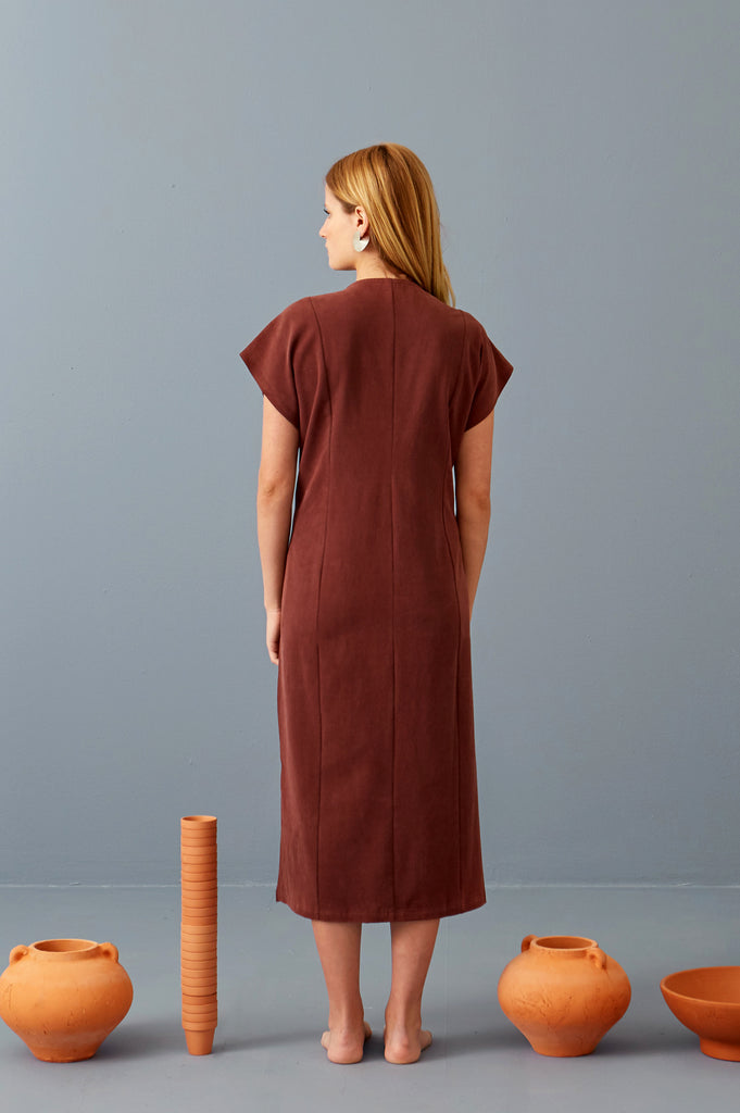 Elaine Midi Dress in Port