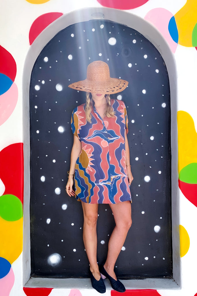 Hand Painted Silk Shirt Dress - Saturn Suns