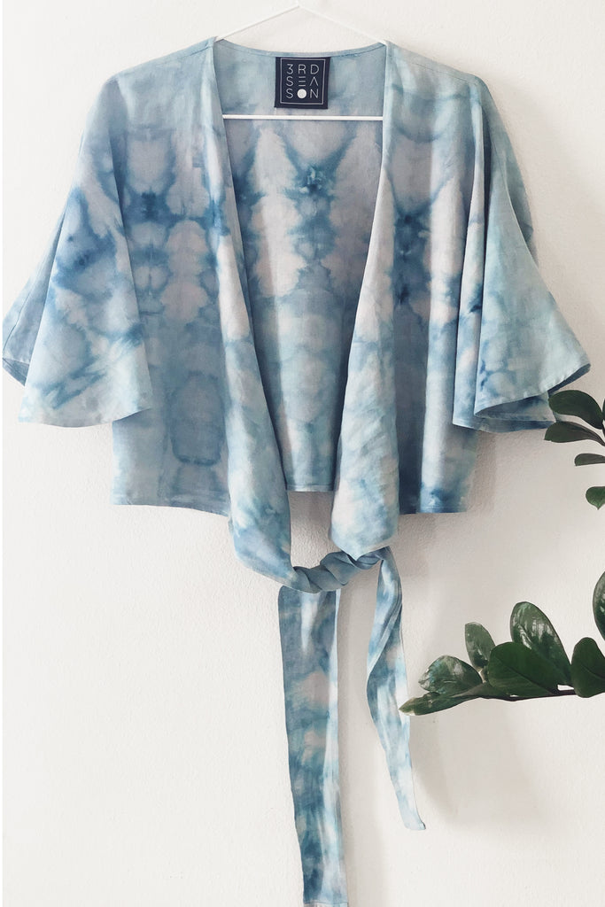 Valentina Wrap Top in Ice Dye Blue