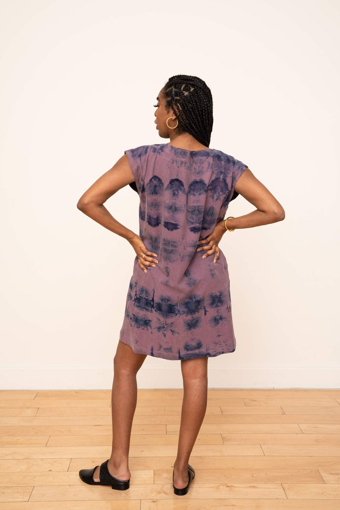 Laguna Shift Dress in Ikat Plum and Blue