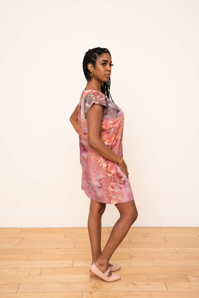 Laguna Silk Shift Dress in Petal Design (Warm)