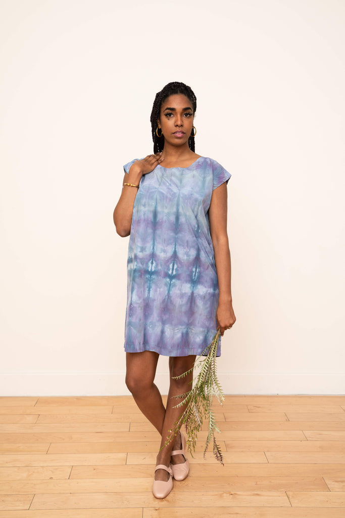 Laguna Silk Shift Dress in Ikat Design (Cool)