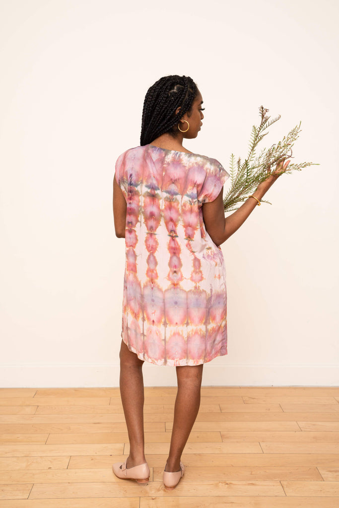 Laguna Silk Shift Dress in Ikat Design (Warm)