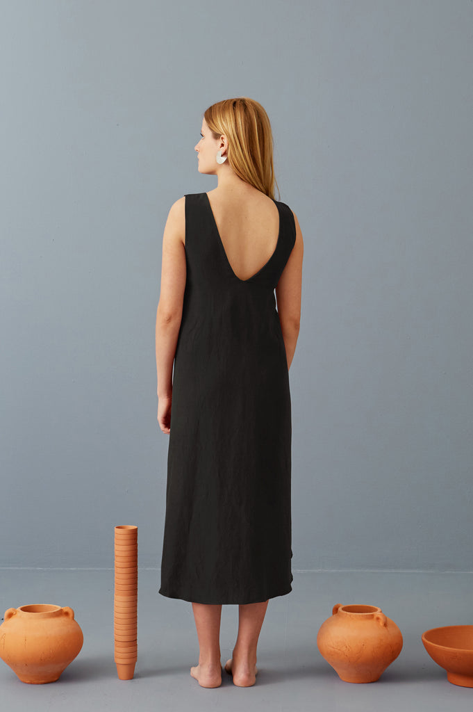 Riviera Wrap Dress in Ash Black