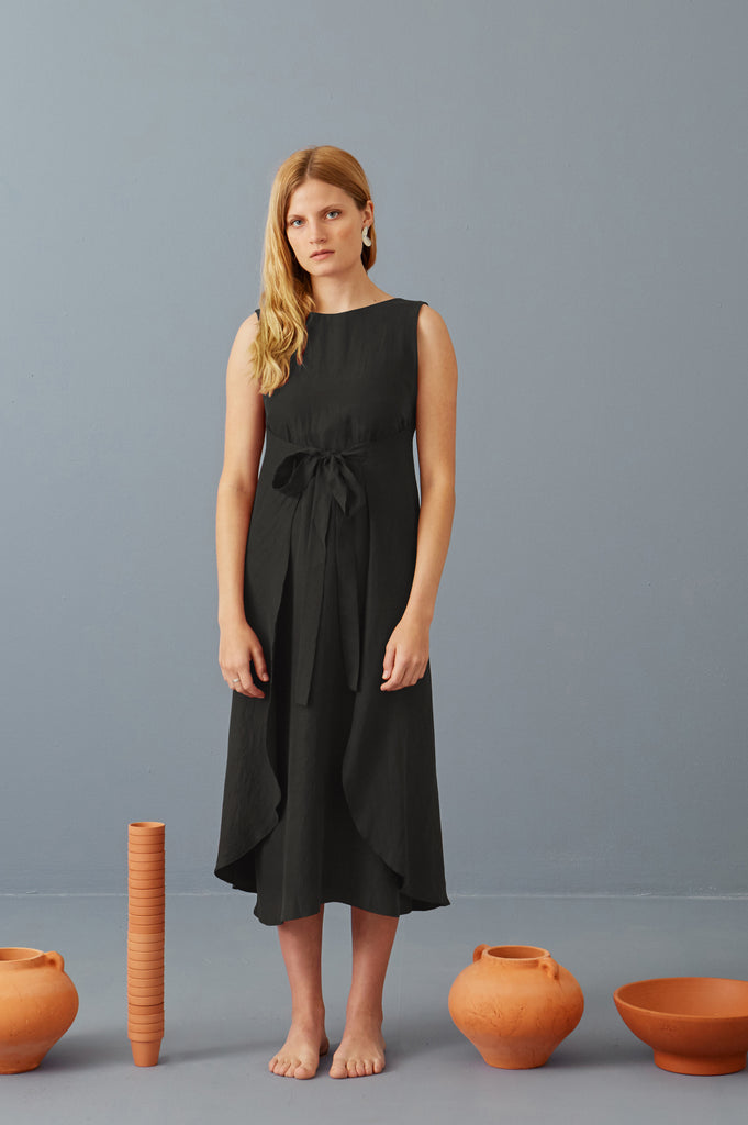Riviera Wrap Dress in Black Tencel