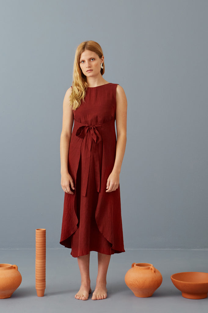Riviera Wrap Dress in Marsala