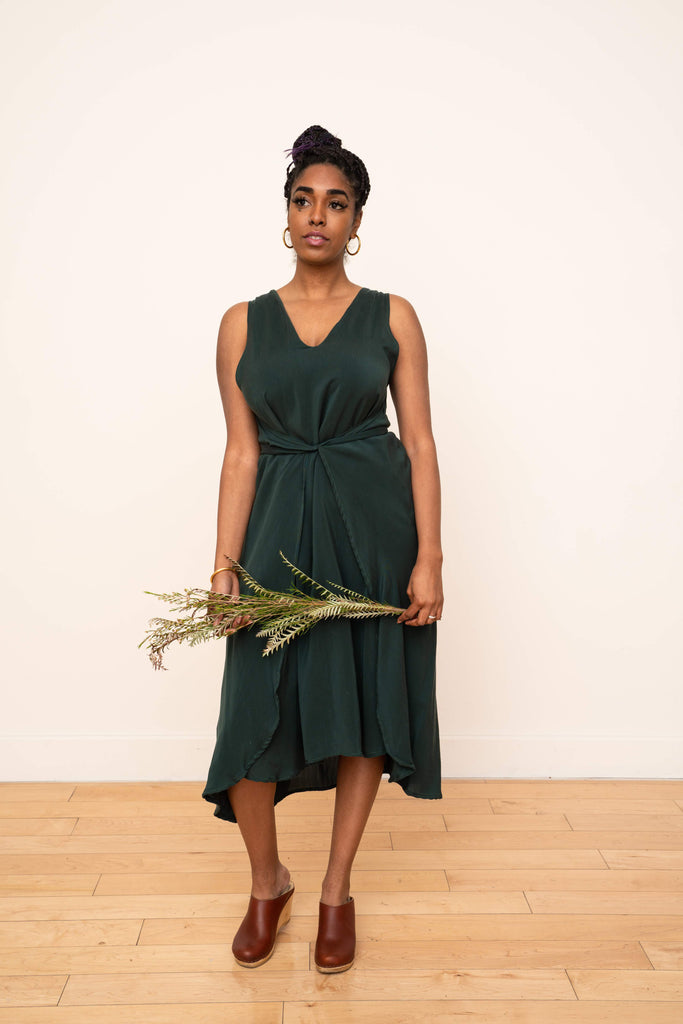 Riviera Wrap Dress in Emerald